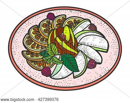Fruit Plate. Sketch Scratch Board Imitation Color.