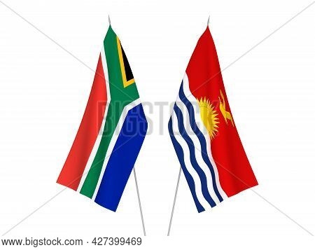 National Fabric Flags Of Republic Of South Africa And Republic Of Kiribati Isolated On White Backgro