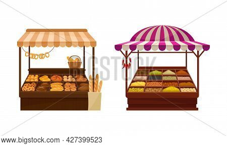 Street Market Stall And Stand With Awning And Various Products Like Condiment And Bread Vector Set