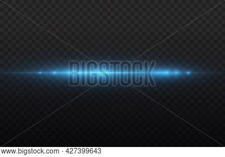 Laser Beams, Horizontal Blue Light Rays Streaks.