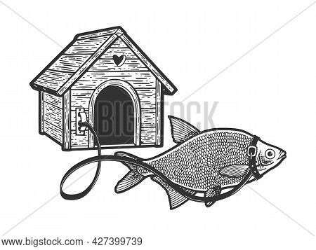 Fish Guard On Leash Near The Booth Line Art Sketch Engraving Vector Illustration. T-shirt Apparel Pr