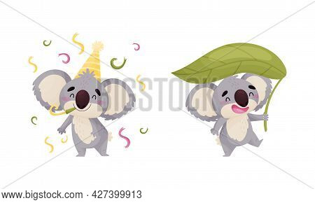 Cute Gray Koala Bear Blowing Whistle And Carrying Leaf Vector Set
