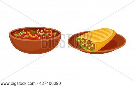 Bowl Of Baked Beans With Vegetables And Burrito With Savory Filling Vector Set