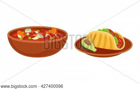 Bowl Of Baked Beans With Vegetables And Taco With Savory Filling Vector Set
