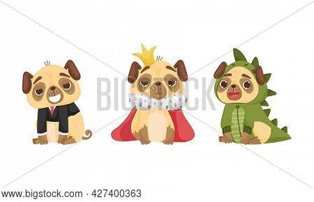 Cute Pug-dog Puppy Wearing Dinosaur Costume And King Mantle Vector Set