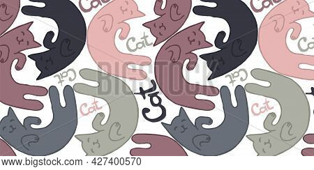 Seamless Pattern With Cat And Lettering Cat. Use For Cat Salons, Veterinary Clinics, An Element For