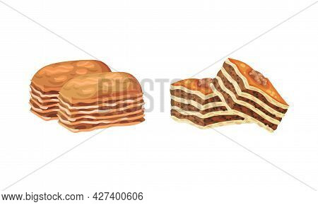 Baklava As Turkish Delight Or Arabic Sweet And Sugary Dessert Vector Set