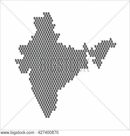 India Country Map Made With Bitcoin Crypto Currency Logo