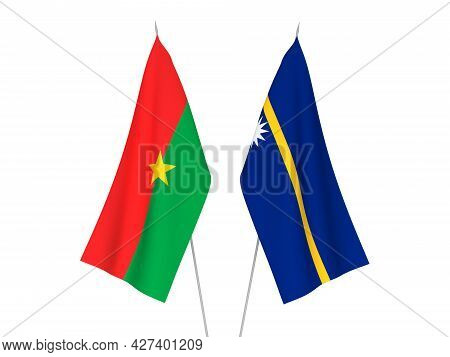 National Fabric Flags Of Republic Of Nauru And Burkina Faso Isolated On White Background. 3d Renderi