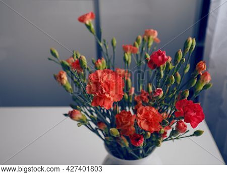 Donated Flowers In A Vase As A Gift, Gift Bouquet Of Flowers, Laid Vase On The Table, Background Of