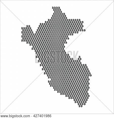 Peru Country Map Made With Bitcoin Crypto Currency Logo