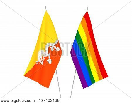 National Fabric Flags Of Rainbow Gay Pride And Kingdom Of Bhutan Isolated On White Background. 3d Re