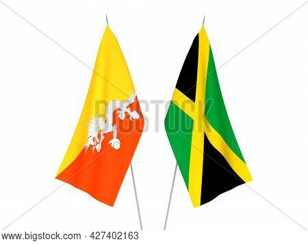 National Fabric Flags Of Jamaica And Kingdom Of Bhutan Isolated On White Background. 3d Rendering Il