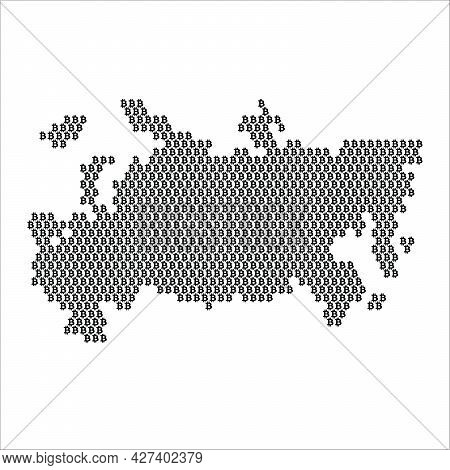 Russia Country Map Made With Bitcoin Crypto Currency Logo