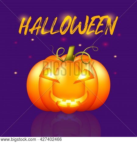 Cartoon Halloween Poster For Flyer Design. Event Poster , Invitation Card. Vector Background. Templa