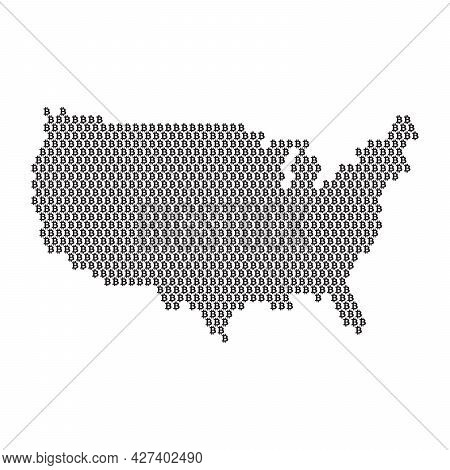 Usa Country Map Made With Bitcoin Crypto Currency Logo
