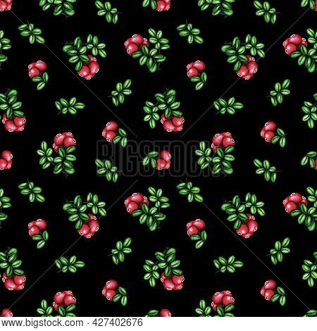 Watercolor Cowberry, Cranberry seamless pattern. Red forest berries bunch and green leaves on black. Hand drawn botanical background for vintage floral print, fabric, textile, package, scrapbooking