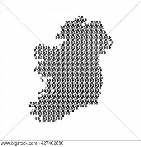 Ireland Country Map Made With Bitcoin Crypto Currency Logo