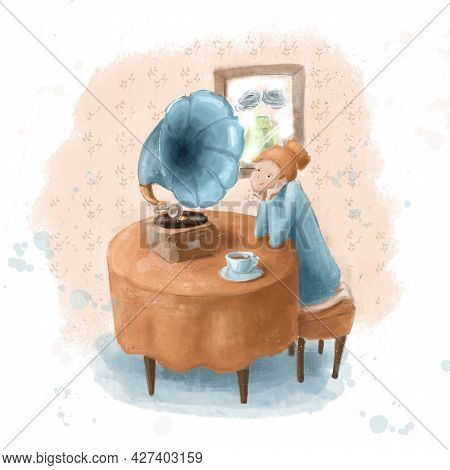 Girl With Gramophone Teatime Illustration, Watercolor Clipart, Picture Good For Art, Banners, Poster
