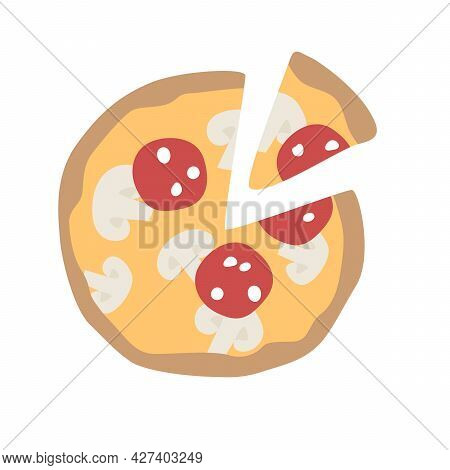 Pepperoni Pizza. Pizza With Cheese, Mushrooms And Sausage