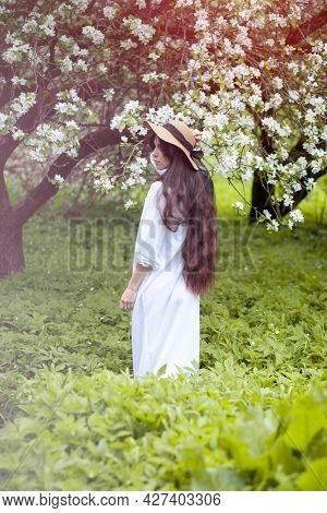 Beautiful young woman walking in orchard