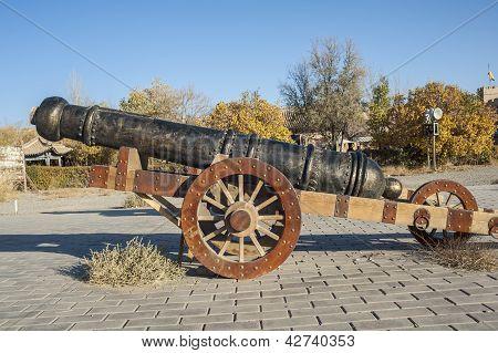 An Old  Bronze Artillery Inside Jiayuguan Castle,  Gansu Of China