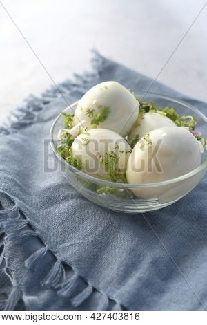 Close Up Of Bowel Egg In A Bowl On Table