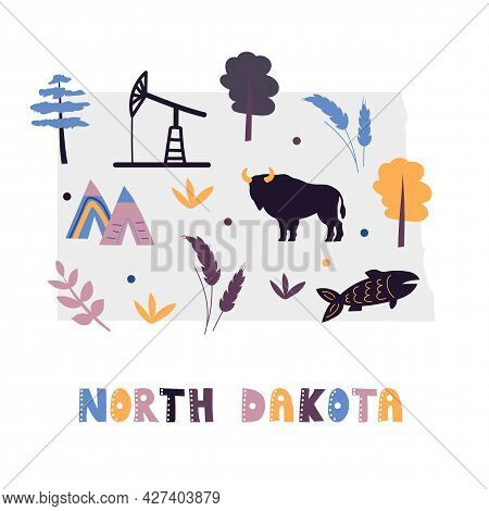 Usa Map Collection. State Symbols And Nature On Gray State Silhouette - North Dakota. Cartoon Simple