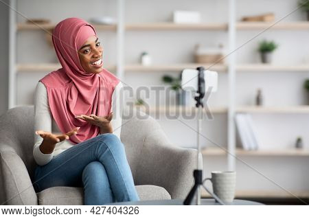 Muslim Influencer. Black Woman In Hijab Capturing Video Content For Her Blog