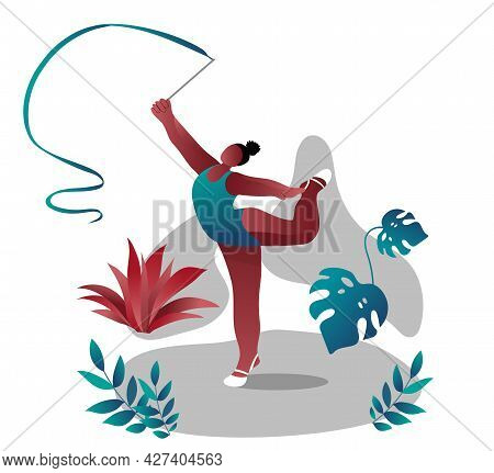 An African-american Women In A Swimsuit Performs Gymnastic Exercises With A Ribbon. Gymnastics Compe