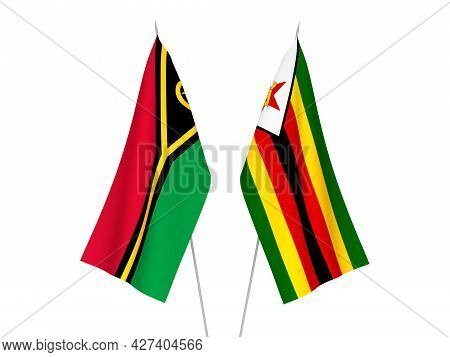 National Fabric Flags Of Zimbabwe And Republic Of Vanuatu Isolated On White Background. 3d Rendering