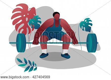 A Strong African-american Athlete-bodybuilder. The Sport Of Weightlifting. Competitions, Demonstrati