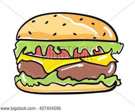 Hamburger Drawing Icon Flat Style Isolated Vector Illustration. Colorful Burger Cartoon, Fast Food L