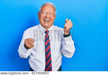 Senior man with grey hair wearing business suit and tie celebrating surprised and amazed for success with arms raised and eyes closed