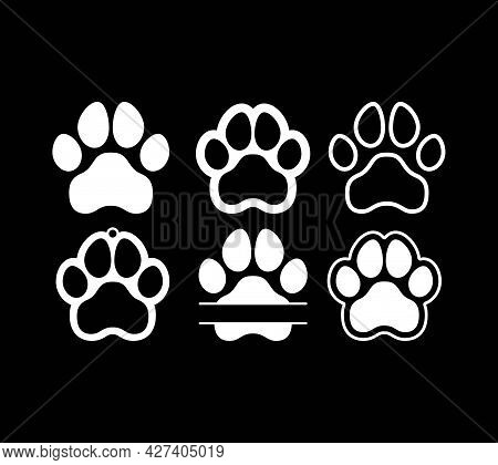 Dog, Puppy, Cat Paw Silhouette. Icons Set. Tags. I Love My Dog.