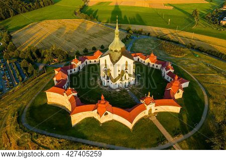 Aerial View Of Pilgrimage Church Of Saint John Of Nepomuk On The Green Hill At Sunset.