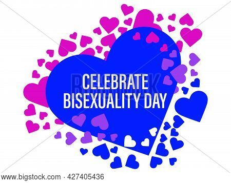 Celebrate Bisexuality Day. Hearts With Color Of Bisexual Pride Flag Isolated On White Background. Fe