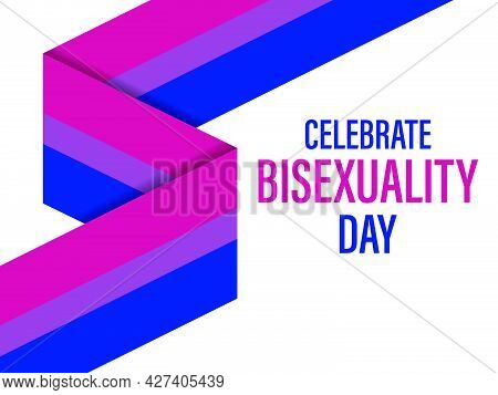Bisexuality Day Text With Stripes Ribbon. Bisexual Pride Flag. Tolerance And Love. Lgbt Sexual Minor