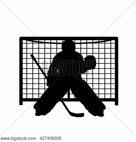 Silhouette Boy Ice Hockey Player Goalkeeper Protects The Gate. Symbol Sport. Illustration Icon Logo