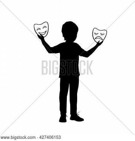 Silhouette Boy Holding Theater Masks. Training Acting Skills. Illustration Icon Logo Symbol