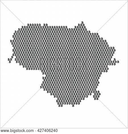 Lithuania Country Map Made With Bitcoin Crypto Currency Logo
