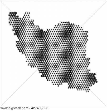 Iran Country Map Made With Bitcoin Crypto Currency Logo