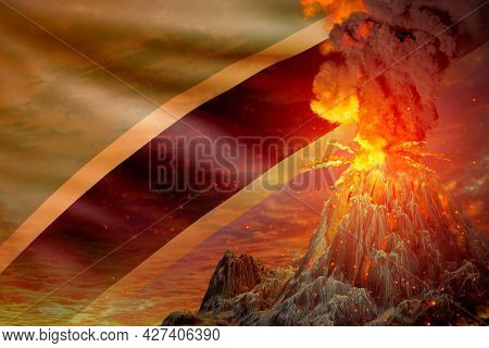 High Volcano Blast Eruption At Night With Explosion On Tanzania Flag Background, Suffer From Eruptio