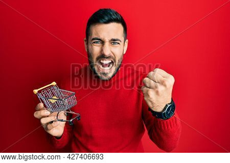 Young hispanic man holding small supermarket shopping cart annoyed and frustrated shouting with anger, yelling crazy with anger and hand raised