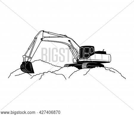Crawler Excavator Modern Flat Vector Illustration. Black And White Outlined Illustration