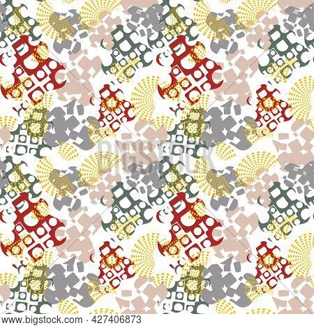 Modern Abstract Seamless Pattern With Uneven Round Stains, Spots, Geometrical Shapes, Splashes, Line