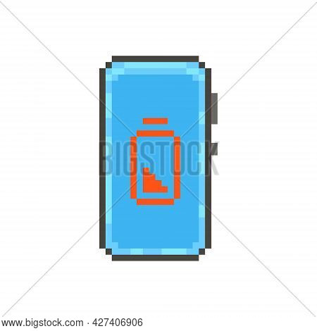 Colorful Simple Flat Pixel Art Illustration Of Modern Smartphone With A Red Fully Discharged Battery