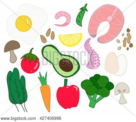 Isolated Colorful Hand Drawn Keto Food Background