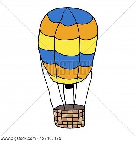 Cute Cartoon Doodle Air Balloon Isolated On White Background. Childlike Style Fly Transportation.