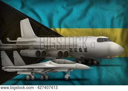 Air Forces On The Bahamas Flag Background. Bahamas Air Forces Concept. 3d Illustration